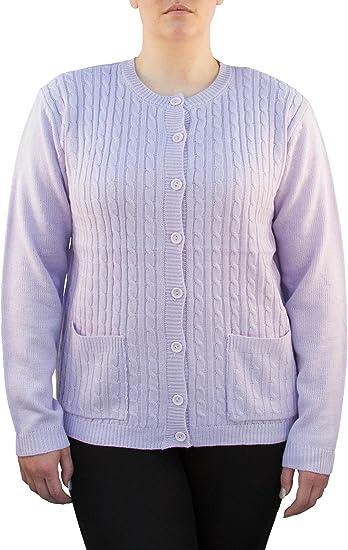 Yarn Art Women's Long Sleeve Two Pocket Knit Cardigan Sweater 3X Burgundy New
