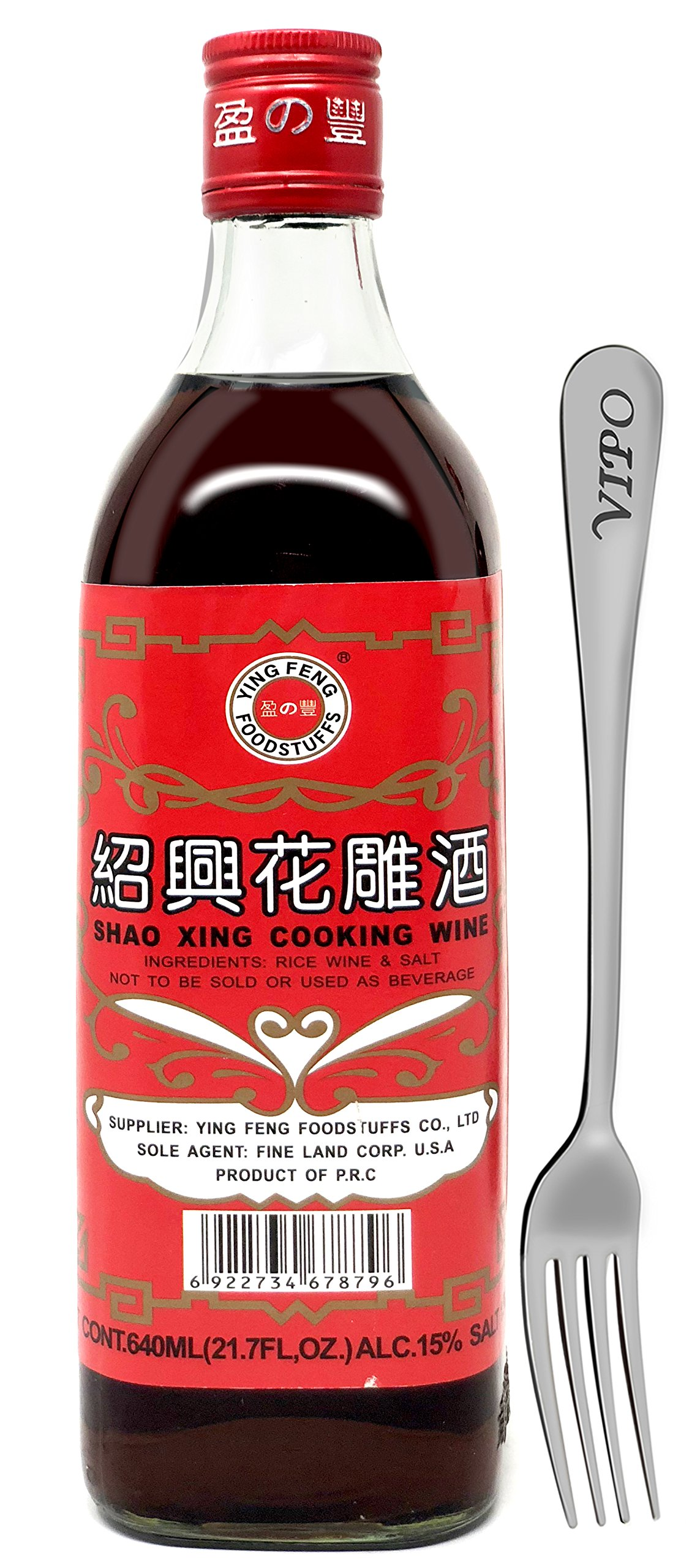 SHAOHSING RICE COOKING WINE 640ML(21.7 Fl, OZ) (Ying Feng Brand) Comes With Free Vipo Fork. (1 Bottle) by Ying Feng