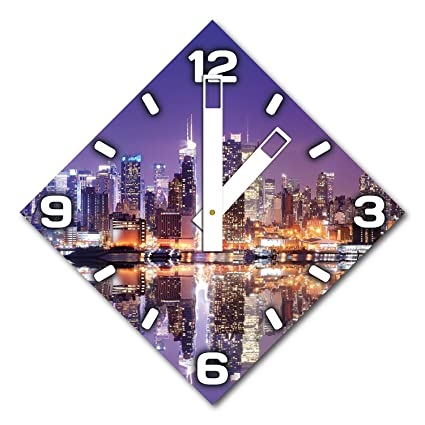 Skyline, diseño reloj de pared de aluminio Dibond para colgar, 48 cm de diámetro