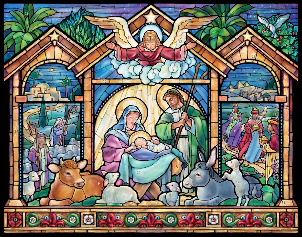 Stained Glass Nativity Advent Calendar (Christmas Countdown Calendar) Vermont Christmas Company