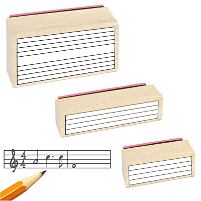 Music Staff Rubber Stamp Gift Pack. (3 Useful Rubber Stamps and Black Stamp Pad): Musical Instruments