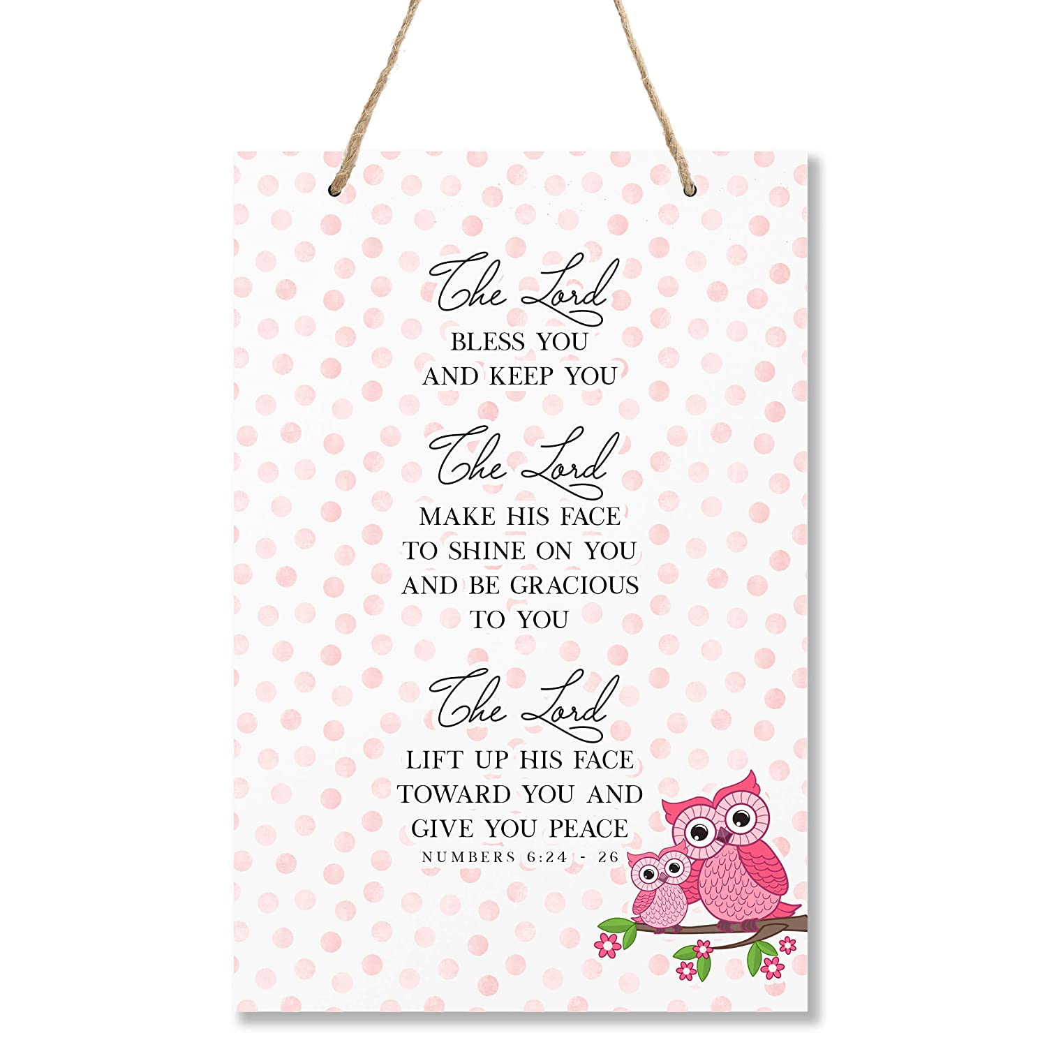"""LifeSong Milestones Owl The Lord Bless You Wall Decor Decorations Signs for Kids Nursery Baby/'s Boys and Girls Room Toddlers Size 8/"""" x 12/"""" Proudly Made in USA Bedroom Hallways"""