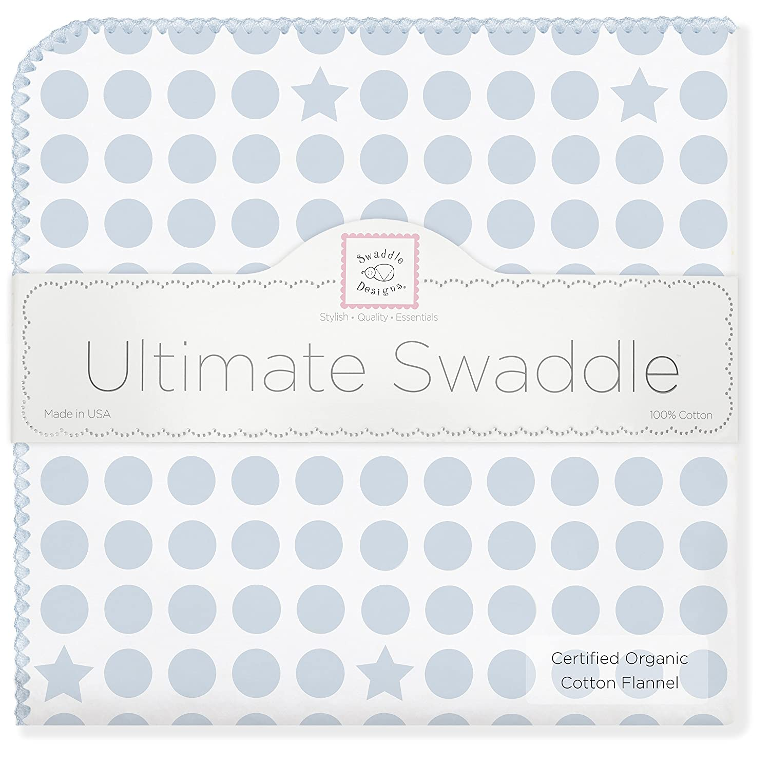 SwaddleDesigns Organic Ultimate Receiving Blanket, Dots and Stars, Kiwi SD-068KW