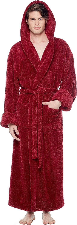 Arus Men's Fleece Robe, Long Hooded Turkish Bathrobe