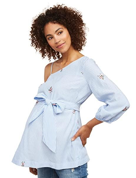 Motherhood Maternity Womens Jacquard Tie Sleeve Blouse Blouse