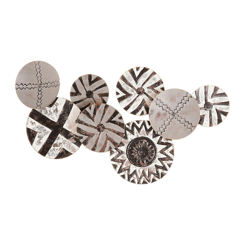 Bronze 74,5/x 5,5/x 44/cm Ostaria d/écoration Murale m/étal Ethnique II Noir et Blanc