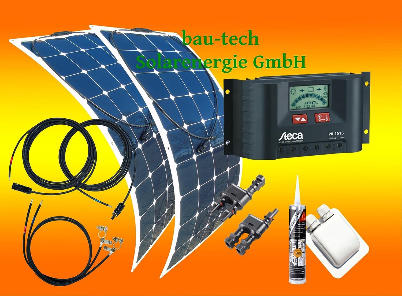 200Watt Wohnmobil Solaranlage 12 Volt Set schwarz mit Laderegler Steca PR1515