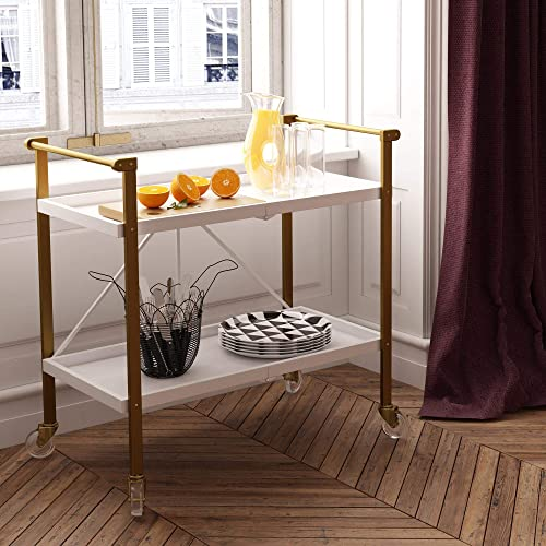 CosmoLiving by Cosmopolitan Trevia Folding, White and Gold Serving Cart