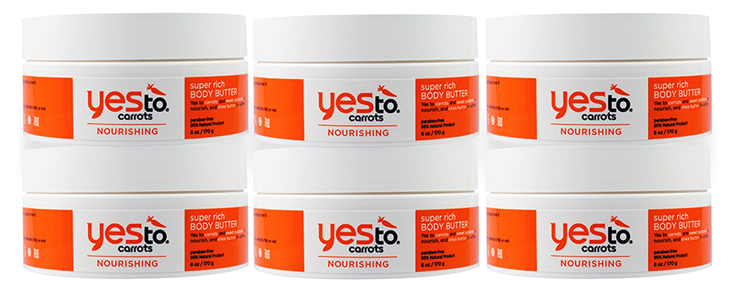 Yes To Carrots Nourishing Super Rich Body Butter, 6 Ounce (Pack of 6)
