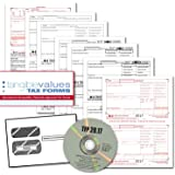 Tangible Values W-2 Laser Forms (6-Part) Kit with Envelopes PLUS TFP SOFTWARE for 50 Employees (2017)