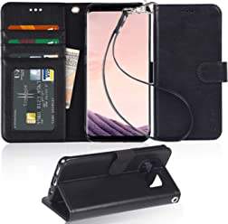Arae Samsung S8 Plus Phone Case,Samsung Galaxy S8 Plus Case with Card Slots and Wallet,Black