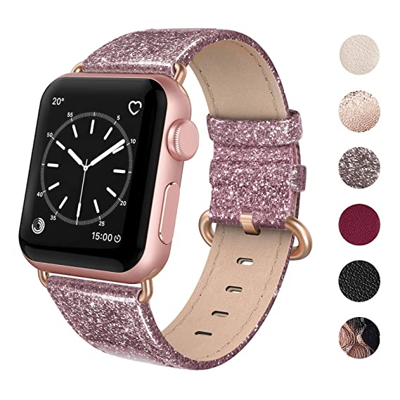 06149fb89 SWEES Compatible for Apple Watch Band 38mm 40mm, Genuine Leather Shiny  Glitter Strap Compatible iWatch