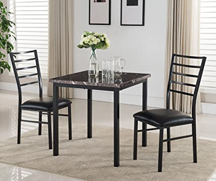 Kings Brand Furniture 3 Piece Black Metal Square Dining Kitchen Dinette Set,  Table U0026 2