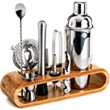 Bartender Kit: 10-Piece Bar Tool Set with Stylish Bamboo Stand - Perfect Home Bartending Kit and Martini Cocktail Shaker…