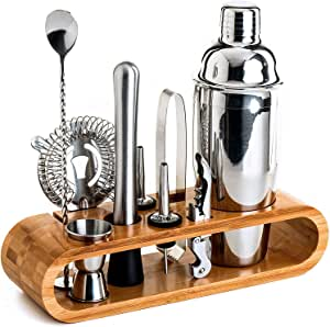 Bartender Kit: 10-Piece Bar Tool Set with Stylish Bamboo Stand - Perfect Home Bartending Kit and Martini Cocktail Shaker Set For an Awesome Drink Mixing Experience - Exclusive Recipes Bonus