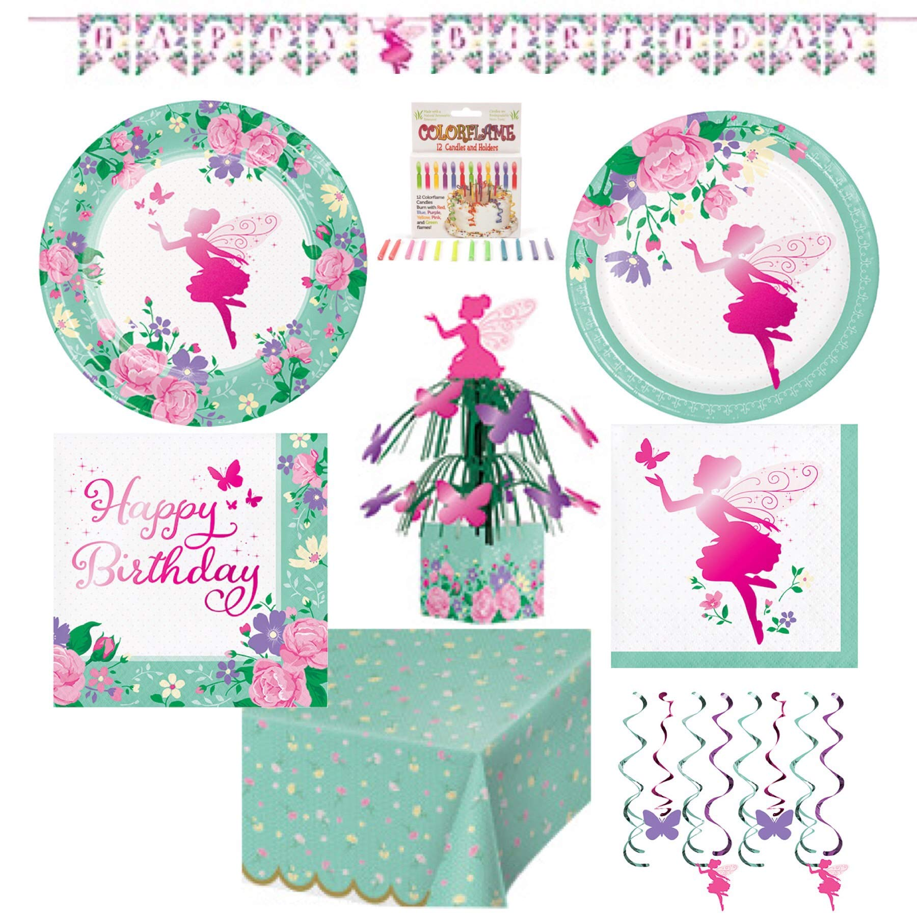 Olive Occasions Fairy Happy Birthday Party Supplies 16 Dinner Plates, 16 Cake Plates, 16 Lunch Napkins, 16 Beverage Napkins, Dizzy Danglers, Table Cover, Centerpiece, Banner. 12 Candles and Recipe