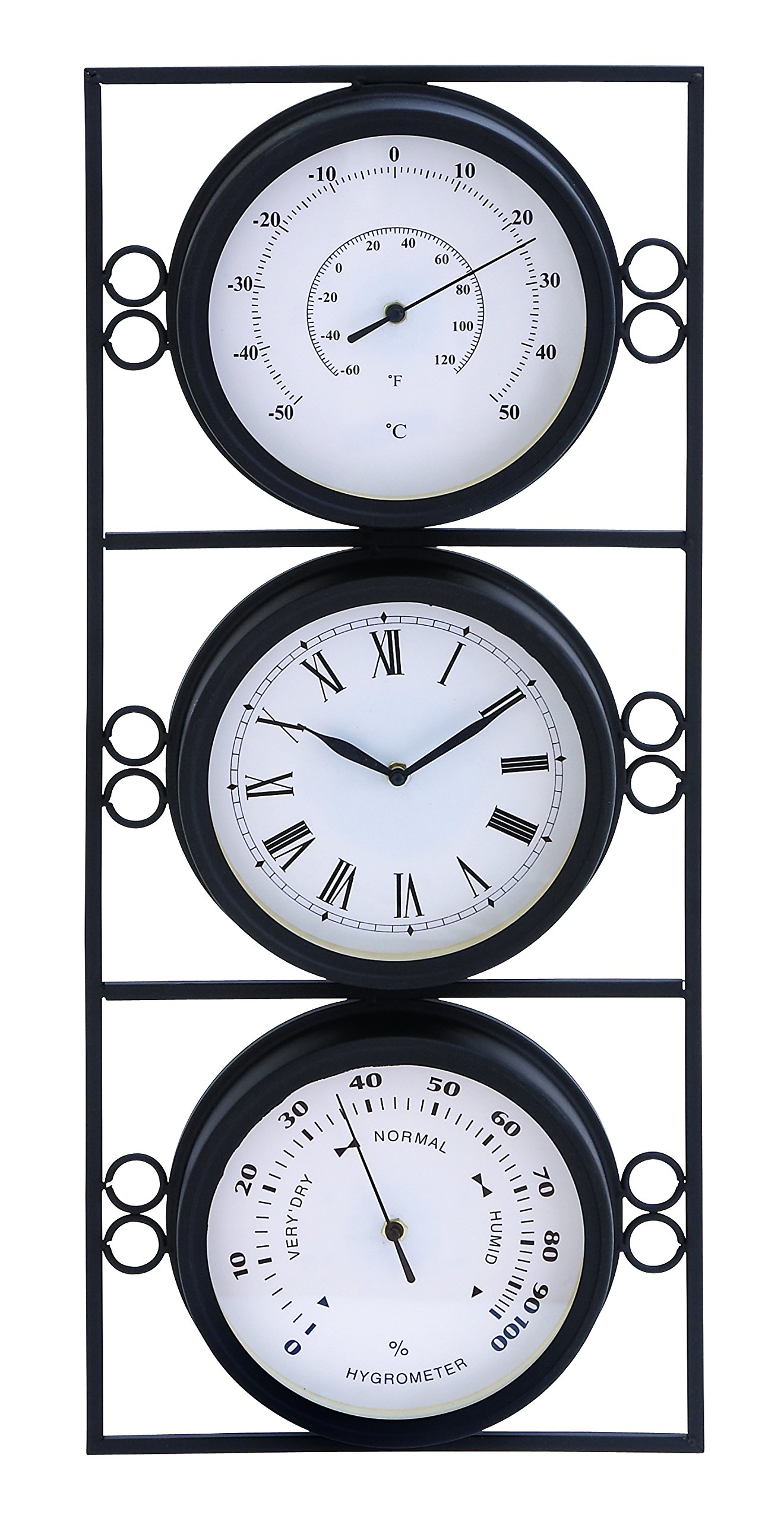 Plutus Brands Contemporary Metal Clock with 2 Thermometer and Minimal Style by Plutus Brands