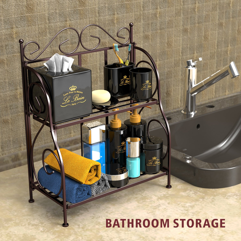 Bathroom Countertop Organizer, F-color 2 Tier Foldable Kitchen Spice Rack Counter Storage Shelf Organizer, Bronze by F-color (Image #3)