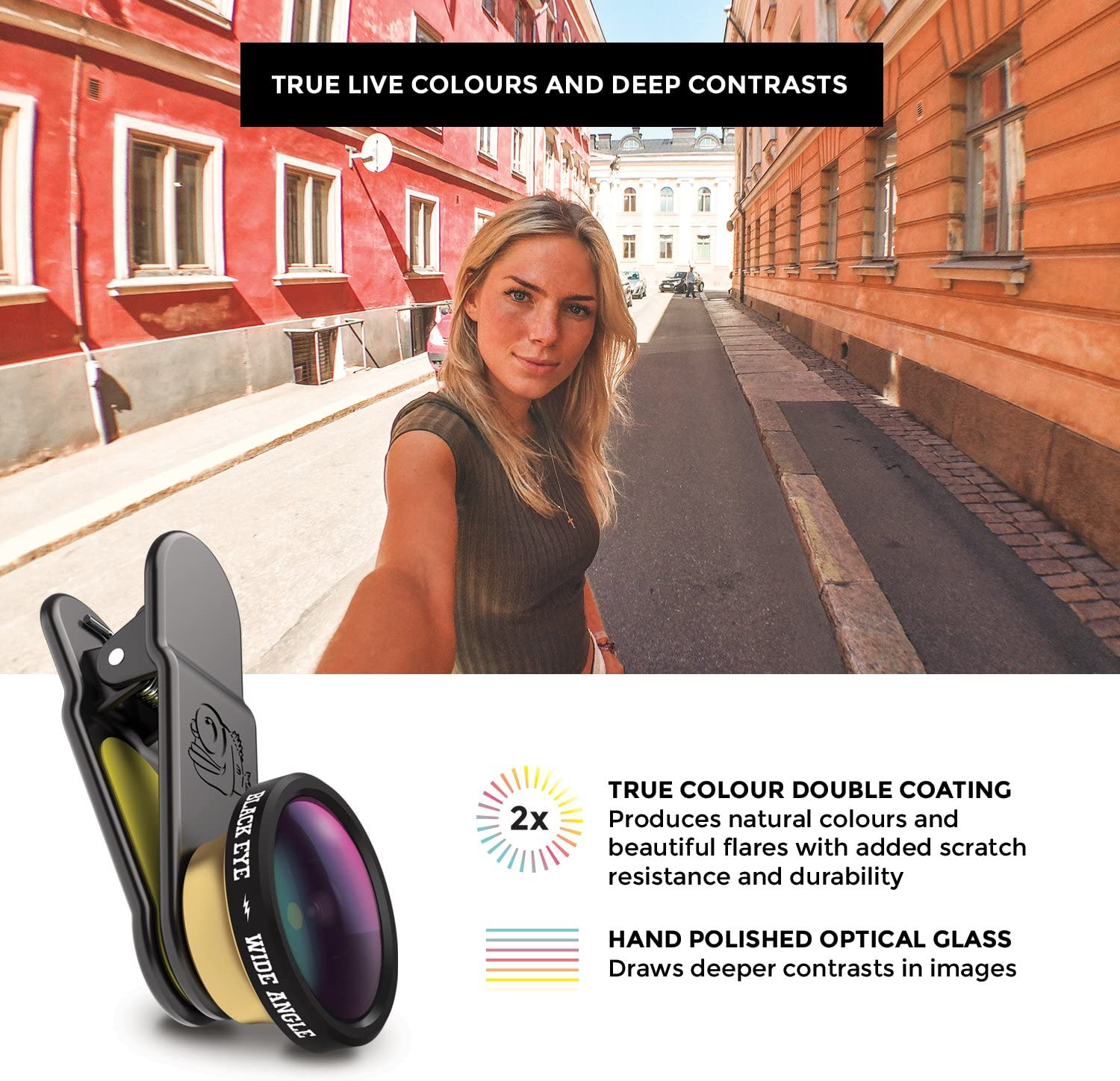 BLACK EYE HD Wide Angle 160/° wide-angle lens for smartphones built before 2018 WA002 Universal Clip, Dual Coated Glass, Works with DualCams