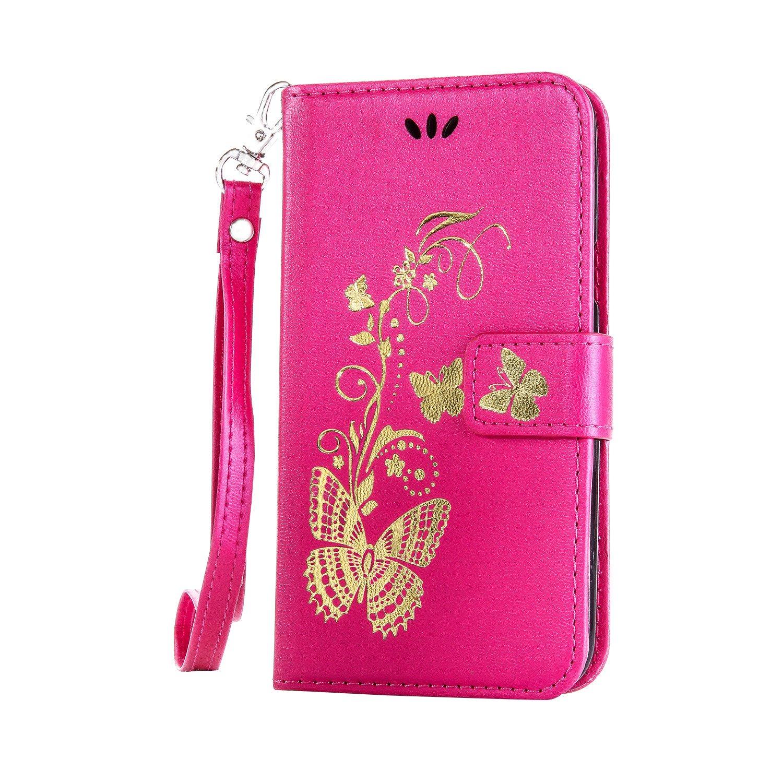 Meet de pour Huawei Honor 5X GR5 Case, (Bling motif Papillons) Folio Wallet flip étui en cuir / Pouch / Case / Holster / Wallet / Case pour Huawei Honor 5X GR5 PU Housse / en cuir Wallet Style de couverture de cas Coque pour téléphone portable Étui Porte-m