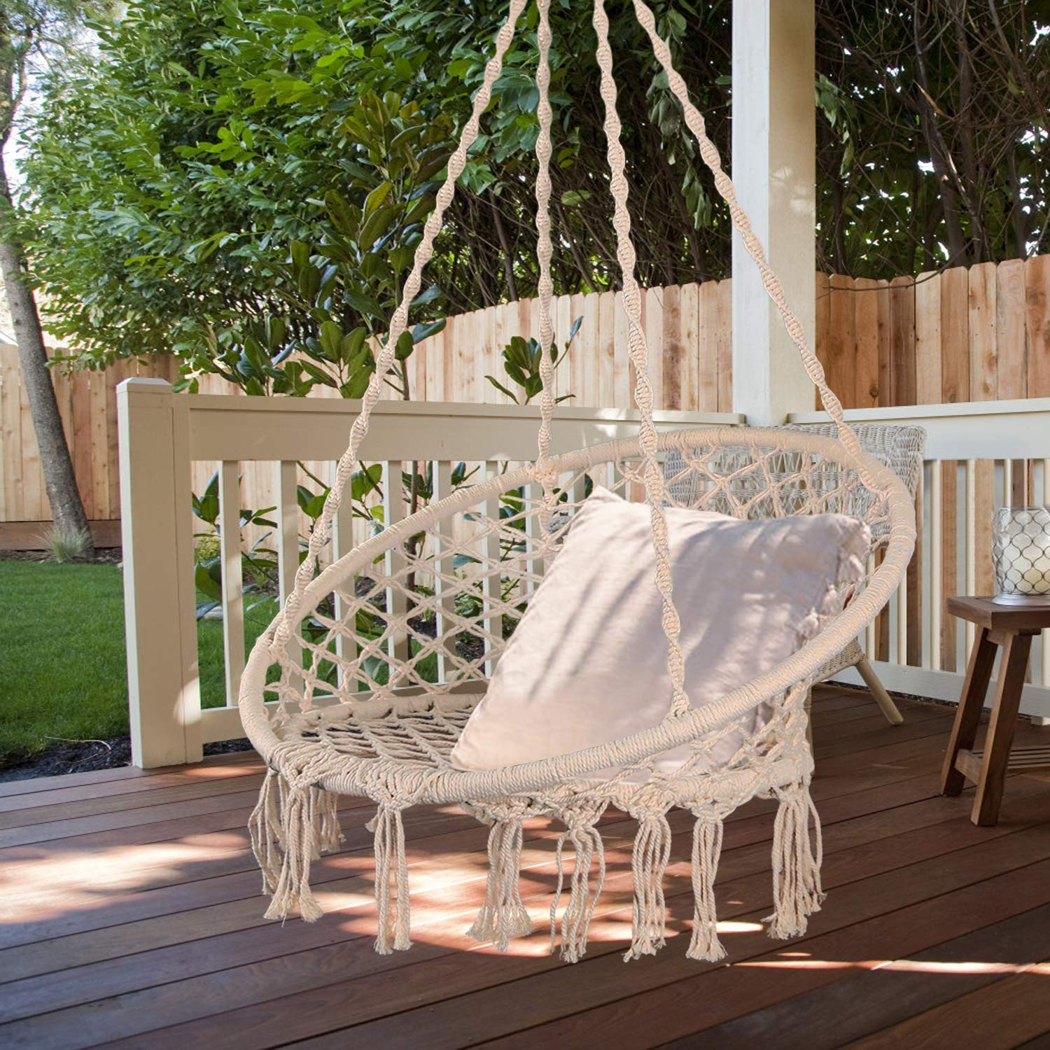 Bathonly Hammock Chair Macrame Swing,100% Handmade Knitted Hanging Swing Chair,Perfect for Indoor/Outhdoor,B edroom, Yard - 231lb Capacity