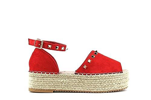 Modelisa - Sandalia Plataforma Alpargata Tachuelas Mujer (40, Rojo): Amazon.es: Zapatos y complementos