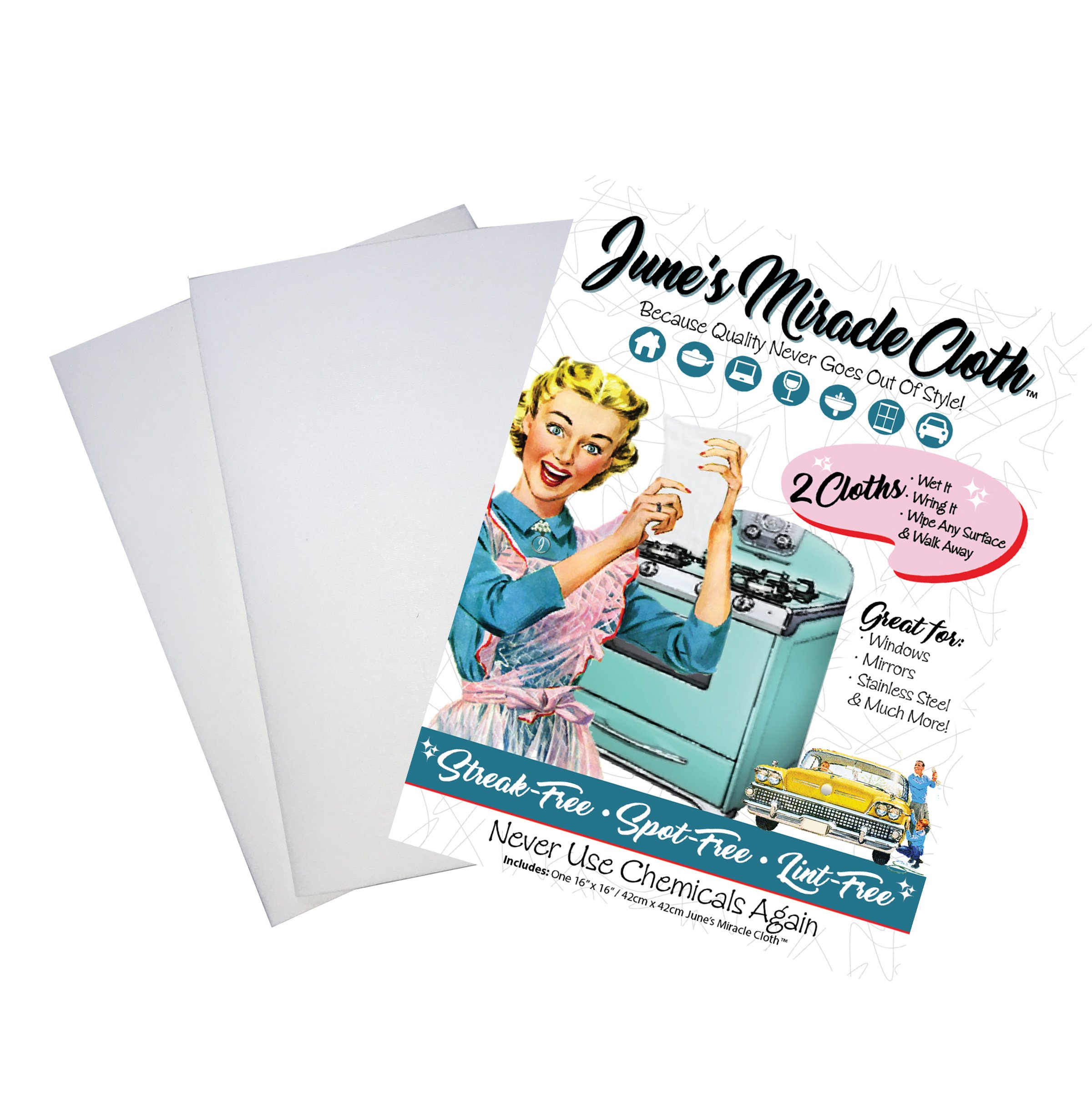 June's Miracle Cloth-2 pack, Micro Fiber Glass Cleaning Cloth, All Purpose Microfiber Washcloth, Lint-Free Wipes, Computer Wipes, For Home Kitchen Cars Windows