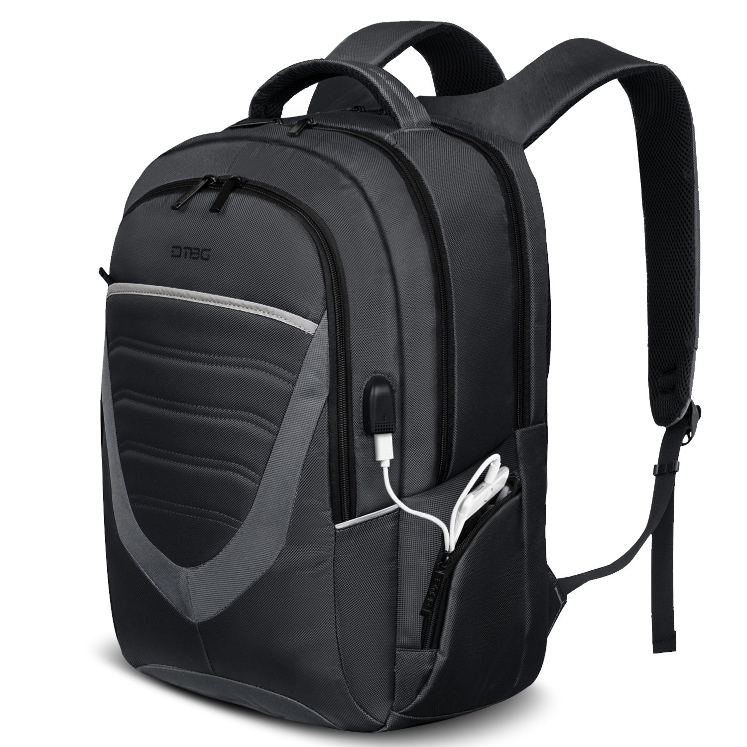17.3 Inch Laptop Backpack with USB Charging Port,DTBG Durable Travel Business Backpack for Men / Women, College Daypack School Bag fits 17 - 17.3 Inch Laptop / Notebook / Macbook Computers,Black