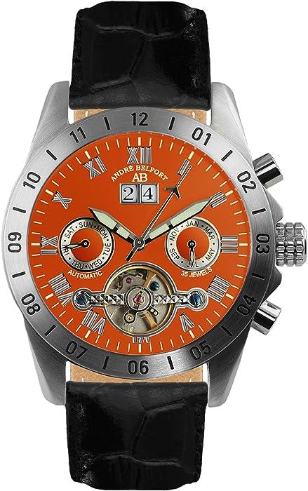 André Belfort 410017 - Reloj analógico de caballero automático con correa de piel negra - sumergible a 50 metros