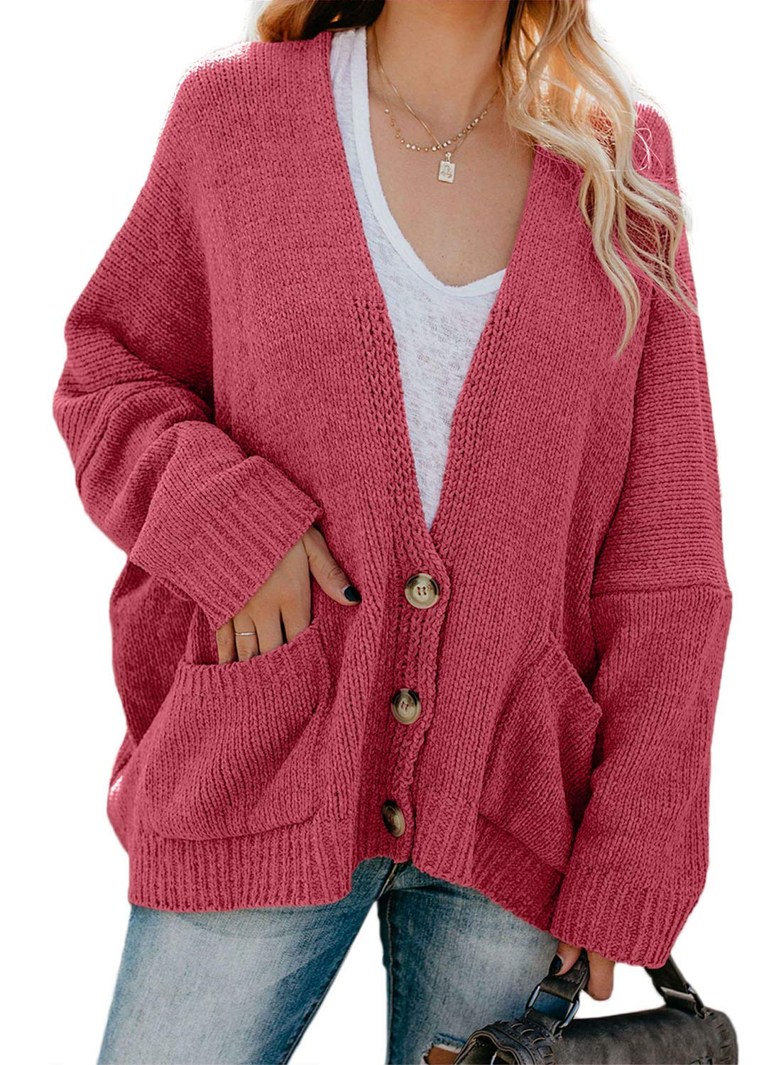 Dokotoo Womens Long Sleeve Open Front Autumn Button Down Chunky Oversized Loose Velvet Chenille Knitted Cardigans Sweaters Coats Knit Outwears Red X-Large by Dokotoo
