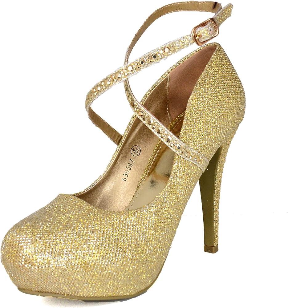LADIES GOLD GLITTER PLATFORM STILETTO HIGH-HEEL PEEP-TOE EVENING SHOES UK 3-8