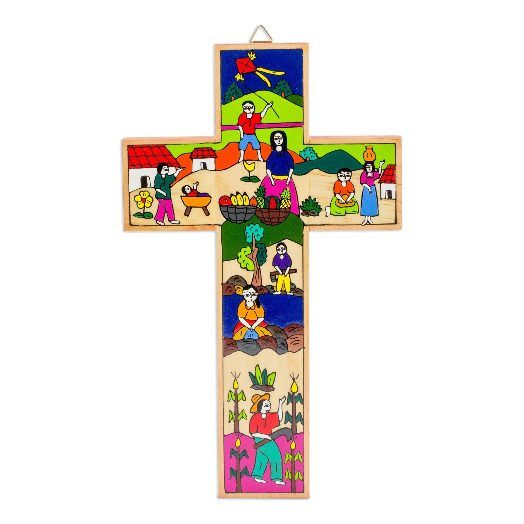 NOVICA Religious Pinewood Wall Cross, Multicolor, Life in The Country' by NOVICA (Image #1)