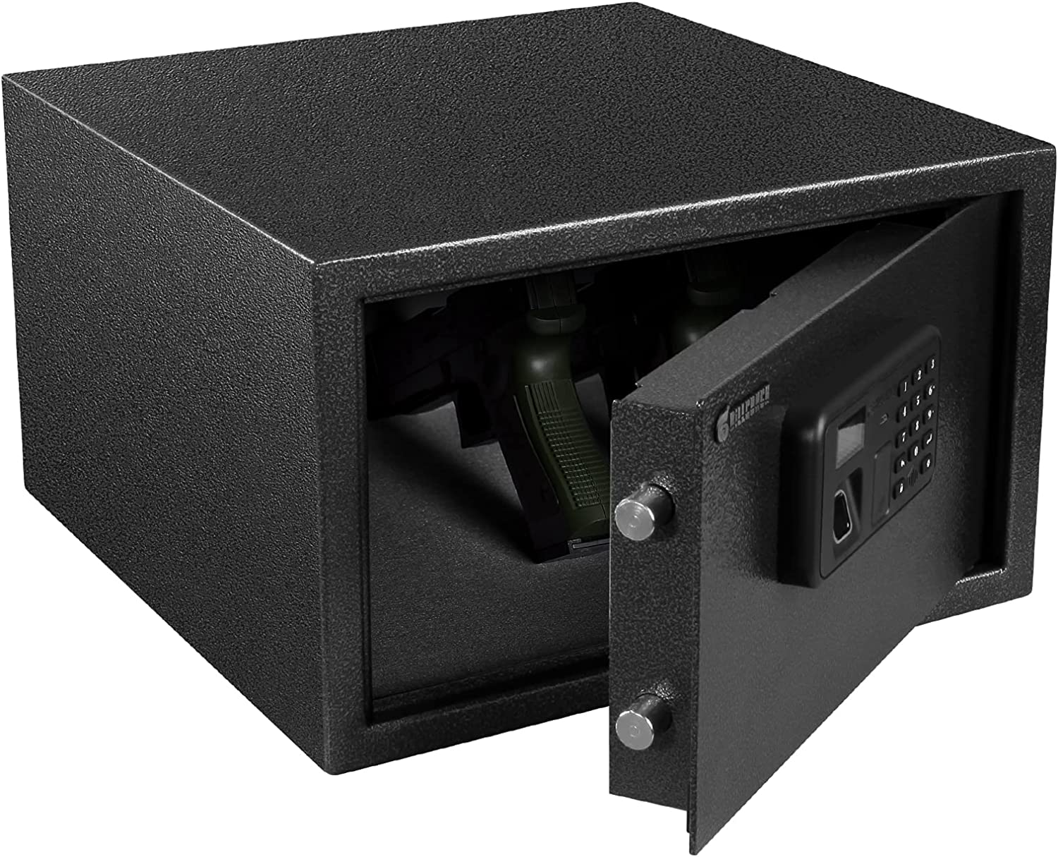 BILLCONCH Gun Safe, Biometric Pistol Safe with Display and Voice Prompt, Automatic Locking Tabs   Detachable Shelf and Foldable Gun Racks for Handgun Safe