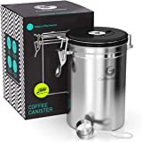 Coffee Gator Stainless Steel Coffee Grounds and Beans Canister