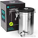 Coffee Gator Stainless Steel Coffee Grounds and Beans Container Canister with Date-Tracker, CO2-Release Valve and…