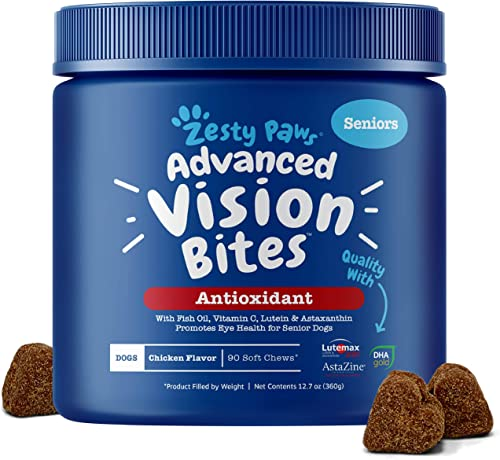 Zesty Paws Eye Supplement for Dogs – Vision Support with Lutein Vitamin C Astaxanthin Antioxidants – Dog Vitamins for Eyes Fish Oil for Omega 3 EPA DHA Fatty Acids for Senior Dogs