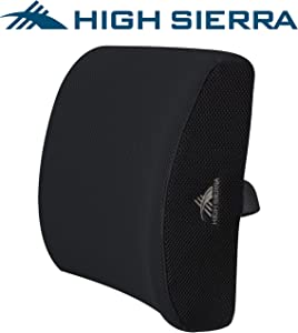 High Sierra HS1415 \ Ergonomic Lumbar Support Pillow \ 100% Pure Memory Foam \ Designed to Maximize Comfort\ Back Cushion for Office Chair, Car, SUV, Plane \ Fits Most Seats \ Breathable Mesh Cover