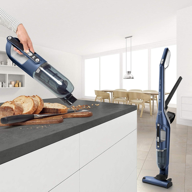 Aspirateur Balai Flexxo 2en1 Multifonction avec Aspirateur à Main Intégré BBH32551 Blanc + Accessoires Bleu