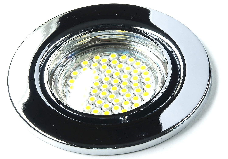 8er Set 230Volt LED SMD Einbaustrahler Alva. Spot in Farbe  chrom inkl. GU10 60er SMD Leuchtmittel Lichtfarbe  Kaltweiß 6000K + Fassung 3Watt = 25Watt .Downlights