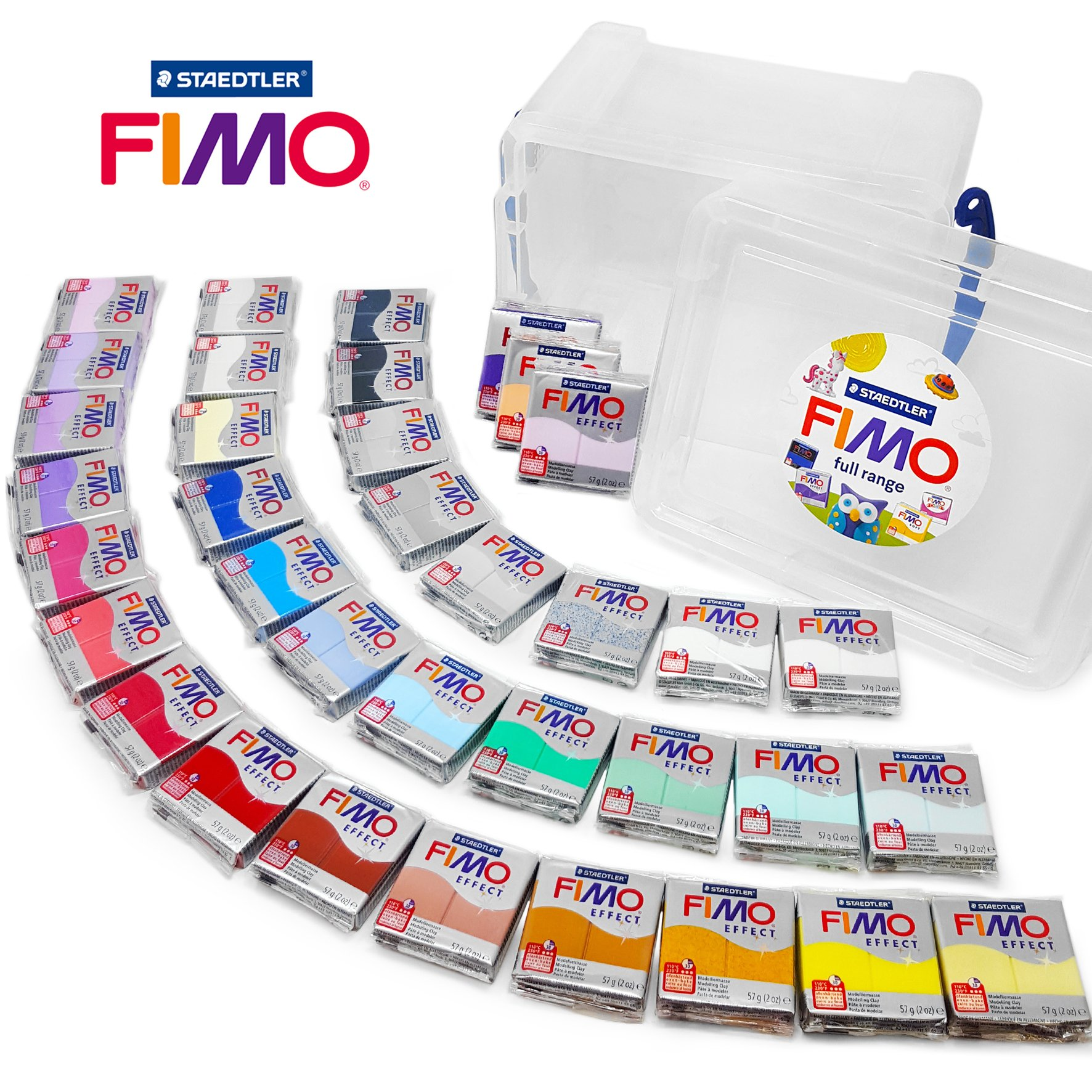 FIMO Effect 57g (2oz) Polymer Modelling Moulding Oven Bake Clay - Full Range of all 36 Colours in Clear Storage Tub by Fimo
