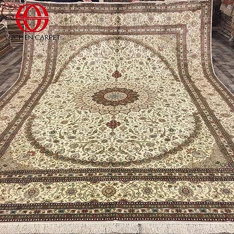 Amazon Com Large Oriental Rug 10x14 Beige Silk Persian Area Rug For