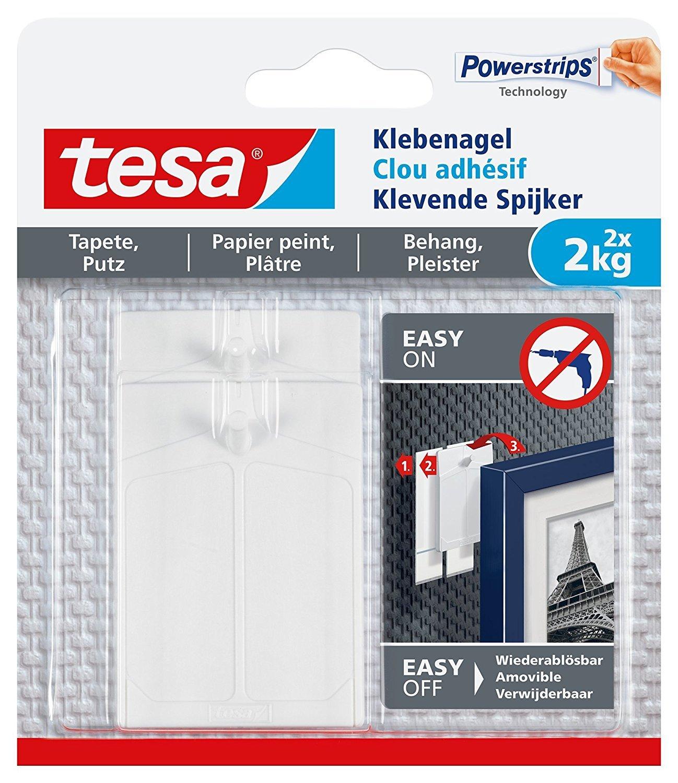 Clavos adhesivos tesa para papel pintado y yeso, ajustables, sujeció n potente, 2 unidades., 2 kg / 6 Nä gel [3er Pack] 2 kg / 6 Nägel [3er Pack] 77777