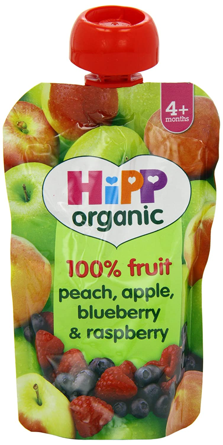 HiPP Organic From 4 Months Peach Apple Blueberry and Raspberry Fruit Pouch 100 g (Pack of 2, Total 10 Pouches) HIPBI GB8525.23-F