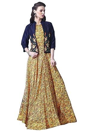 cf2f7aeb011 Rozdeal Yellow   Blue Chanderi Cotton Resham Embroidered Designer Koti Gown  ( RDGN108-1019 )