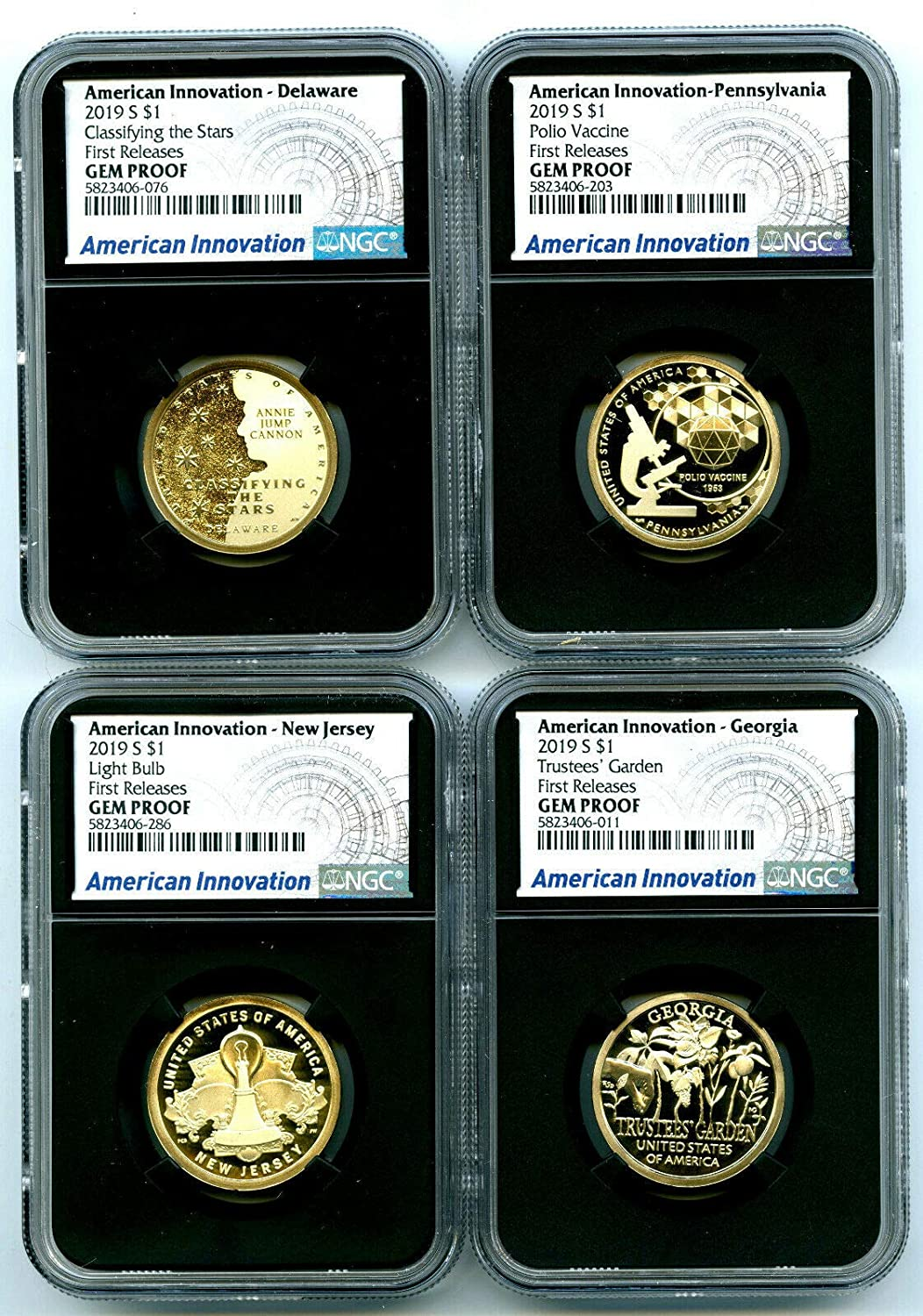 2019 S AMERICAN INNOVATION FIRST RELEASES 4-COIN DOLLAR SET $1 GEM PROOF NGC