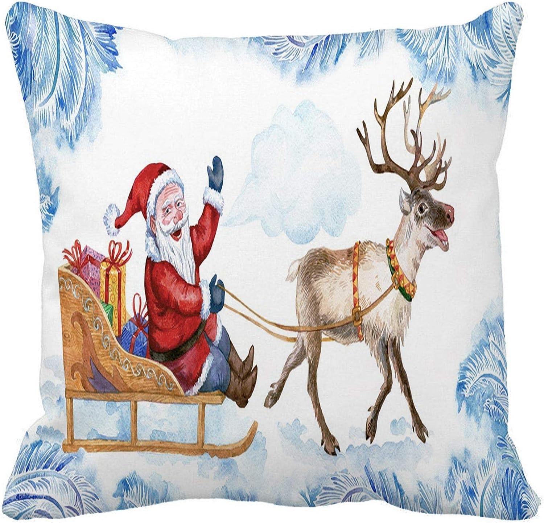 Awowee Throw Pillow Cover Santa Rides