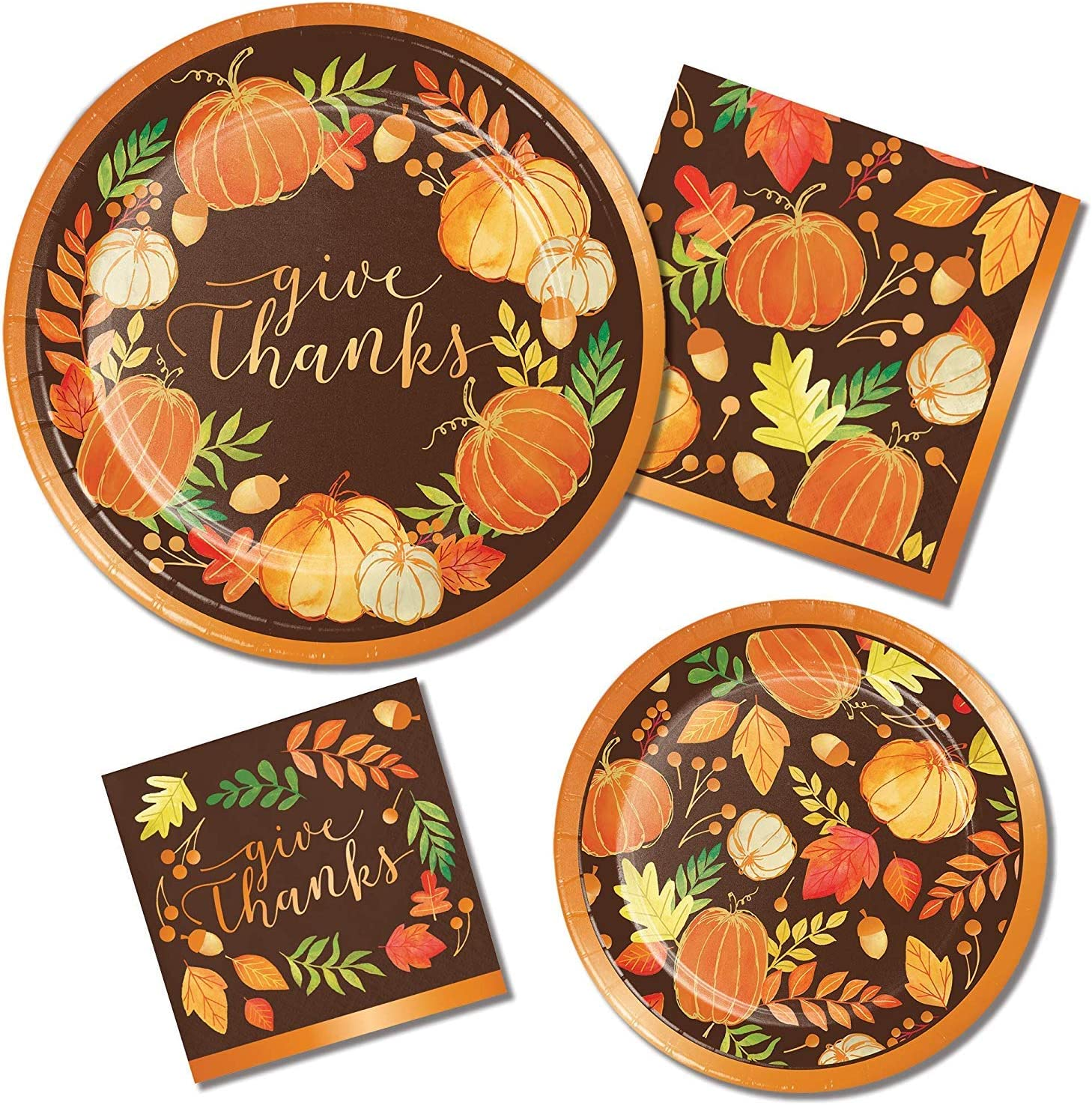 Give Thanks Friendsgiving Fall Harvest Tableware Essentials   Dinner & Dessert Plates, Luncheon & Beverage Napkins   Autumn, Fall, Thanksgiving Disposable Plates and Napkins for 32