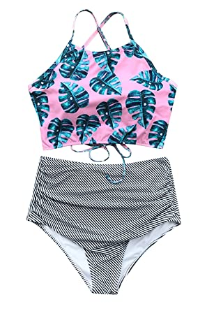 b6a19533f1669 Cupshe Fashion Women's Floral Top Stripe Bottom Padding Bikini Set, Pink,  Small