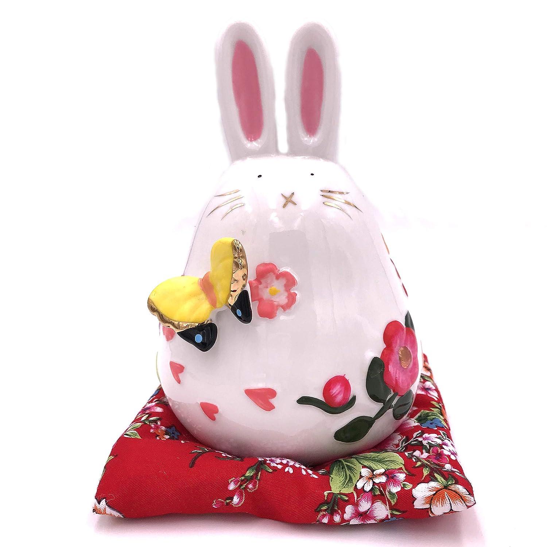 RandJ Ceramic Japanese Maneki Neko Lucky Rabbit Piggy Bank Gift Money