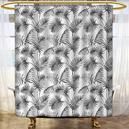 Anhounine Natural Fabric Shower Curtains Palm Leaves Island Tropical Floral Botanic Tree Sketchy Print Image